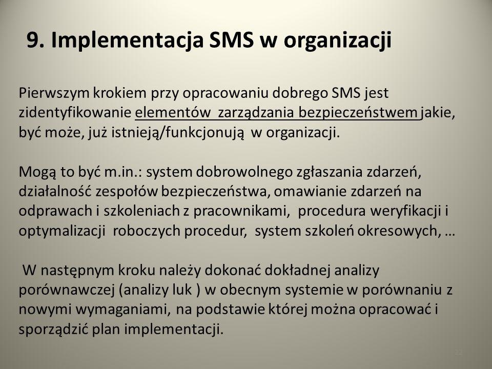 22 9. Implementacja SMS w organizacji Pierwszym krokiem przy opracowaniu dobrego SMS jest zidentyfikowanie elementów zarządzania bezpieczeństwem jakie