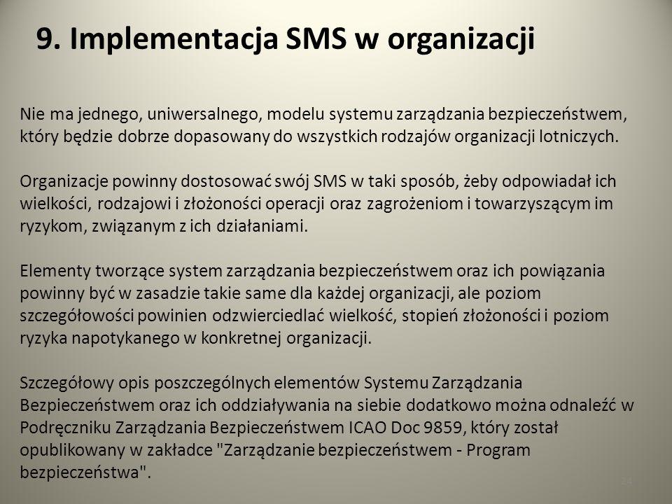 24 Nie ma jednego, uniwersalnego, modelu systemu zarządzania bezpieczeństwem, który będzie dobrze dopasowany do wszystkich rodzajów organizacji lotnic