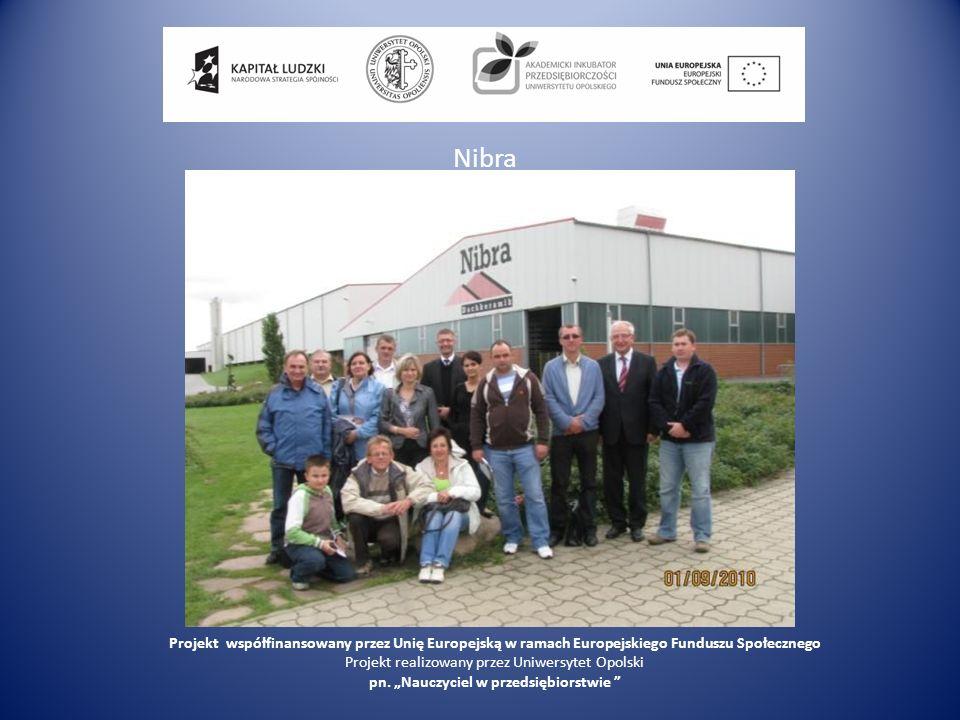 Nibra Projekt współfinansowany przez Unię Europejską w ramach Europejskiego Funduszu Społecznego Projekt realizowany przez Uniwersytet Opolski pn.