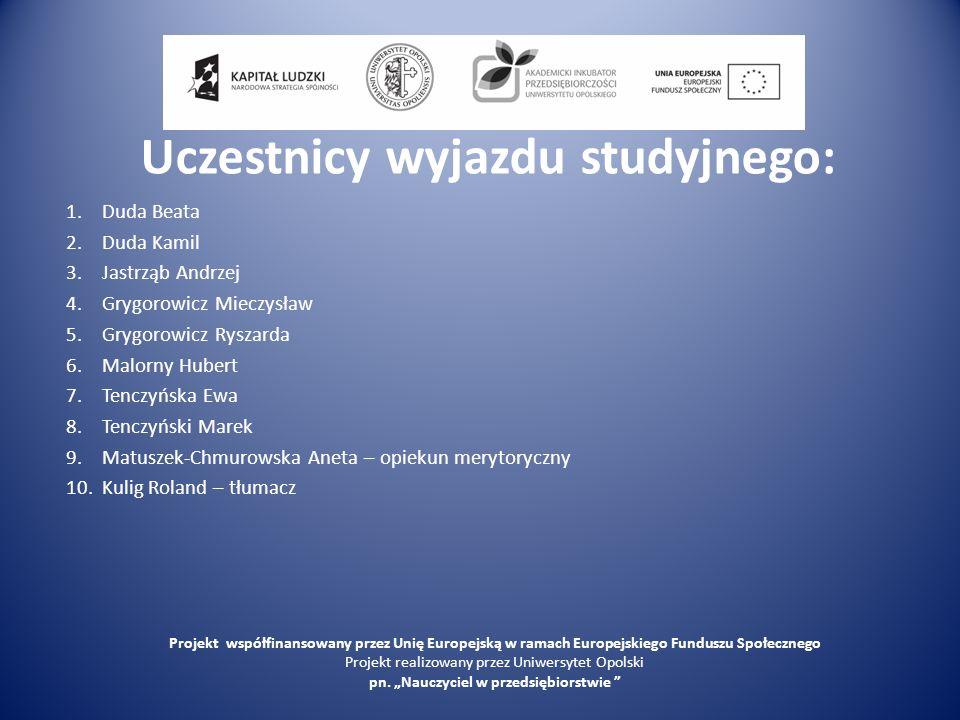 Program wizyty studyjnej 29.08.2010– niedziela O godz.