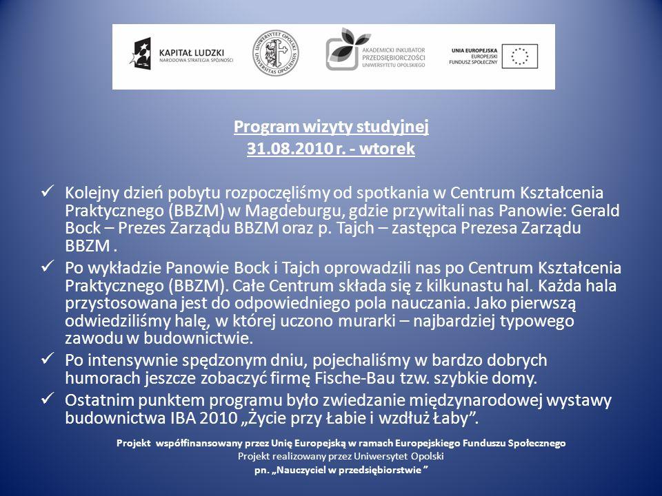 Program wizyty studyjnej 31.08.2010 r.