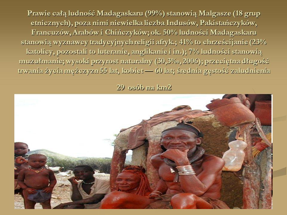 Prawie całą ludność Madagaskaru (99%) stanowią Malgasze (18 grup etnicznych), poza nimi niewielka liczba Indusów, Pakistańczyków, Francuzów, Arabów i