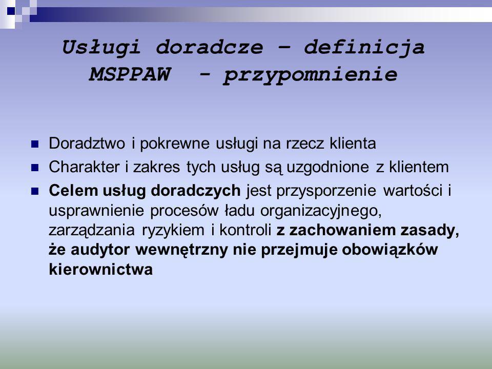 Usługi doradcze – definicja MSPPAW - przypomnienie Doradztwo i pokrewne usługi na rzecz klienta Charakter i zakres tych usług są uzgodnione z klientem