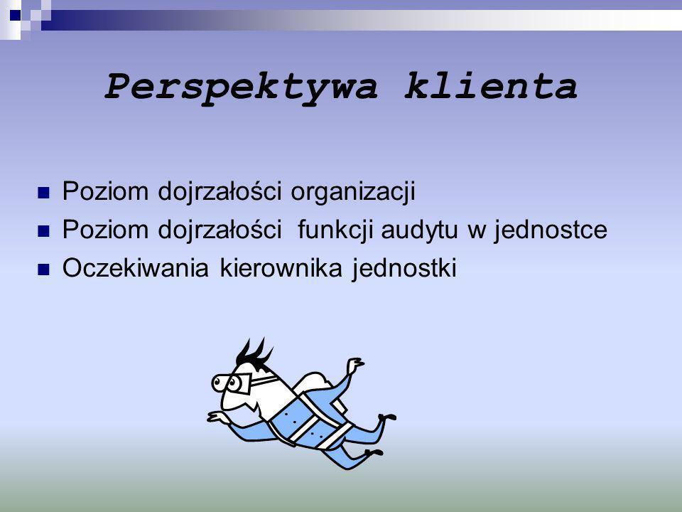 Perspektywa klienta Poziom dojrzałości organizacji Poziom dojrzałości funkcji audytu w jednostce Oczekiwania kierownika jednostki