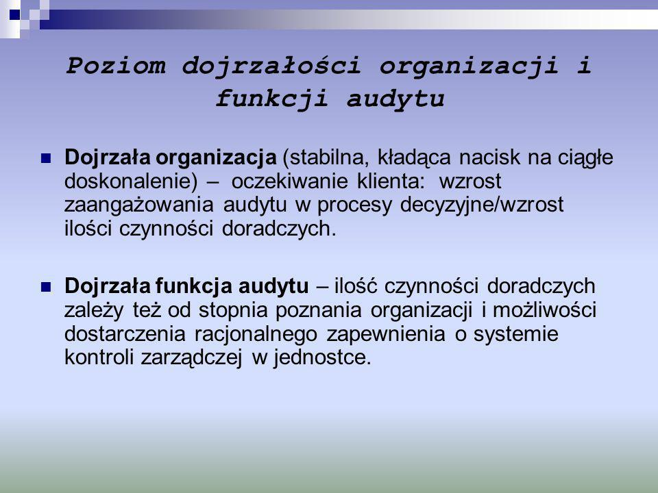 Poziom dojrzałości organizacji i funkcji audytu Dojrzała organizacja (stabilna, kładąca nacisk na ciągłe doskonalenie) – oczekiwanie klienta: wzrost z
