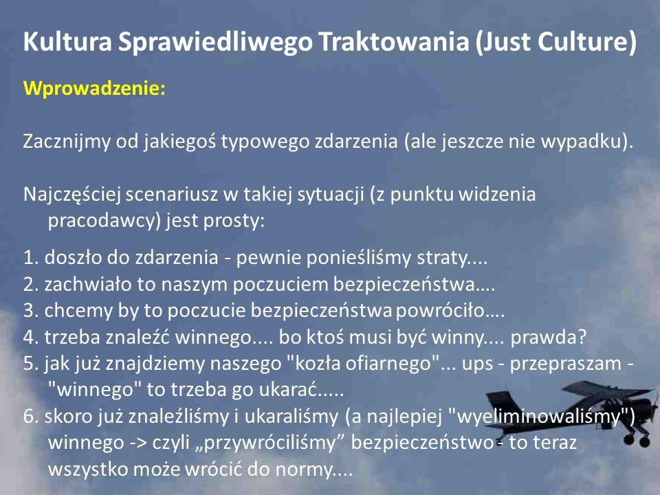 Kultura Sprawiedliwego Traktowania (Just Culture) Wprowadzenie: Zacznijmy od jakiegoś typowego zdarzenia (ale jeszcze nie wypadku). Najczęściej scenar