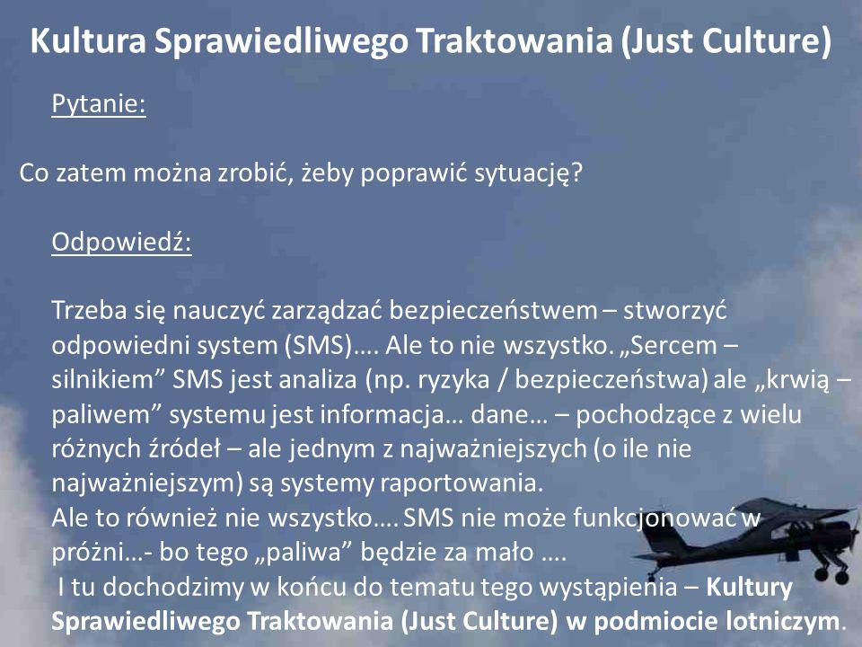 Kultura Sprawiedliwego Traktowania (Just Culture) Pytanie: Co zatem można zrobić, żeby poprawić sytuację? Odpowiedź: Trzeba się nauczyć zarządzać bezp