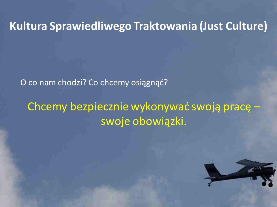 Kultura Sprawiedliwego Traktowania (Just Culture) O co nam chodzi? Co chcemy osiągnąć? Chcemy bezpiecznie wykonywać swoją pracę – swoje obowiązki.