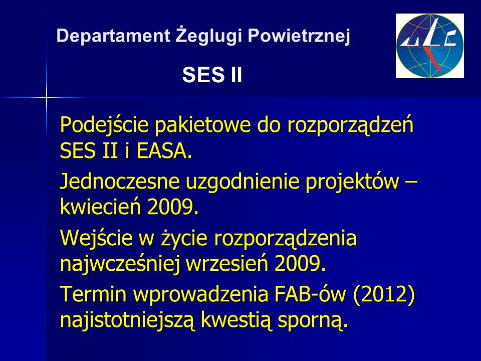 SES II Departament Żeglugi Powietrznej Podejście pakietowe do rozporządzeń SES II i EASA.