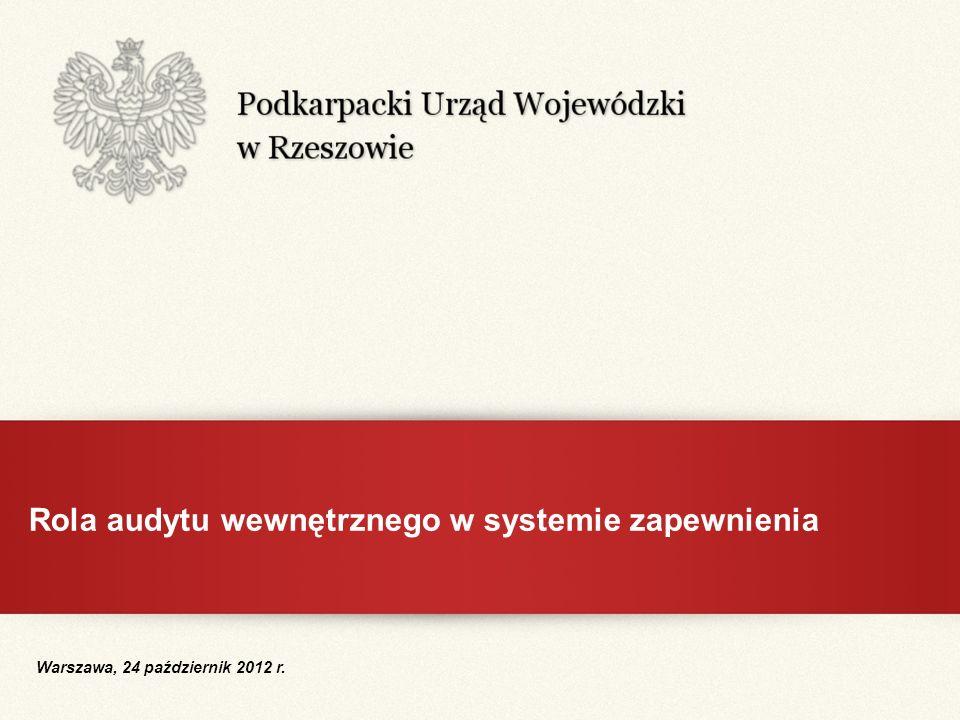 Rola audytu wewnętrznego w systemie zapewnienia Warszawa, 24 październik 2012 r.