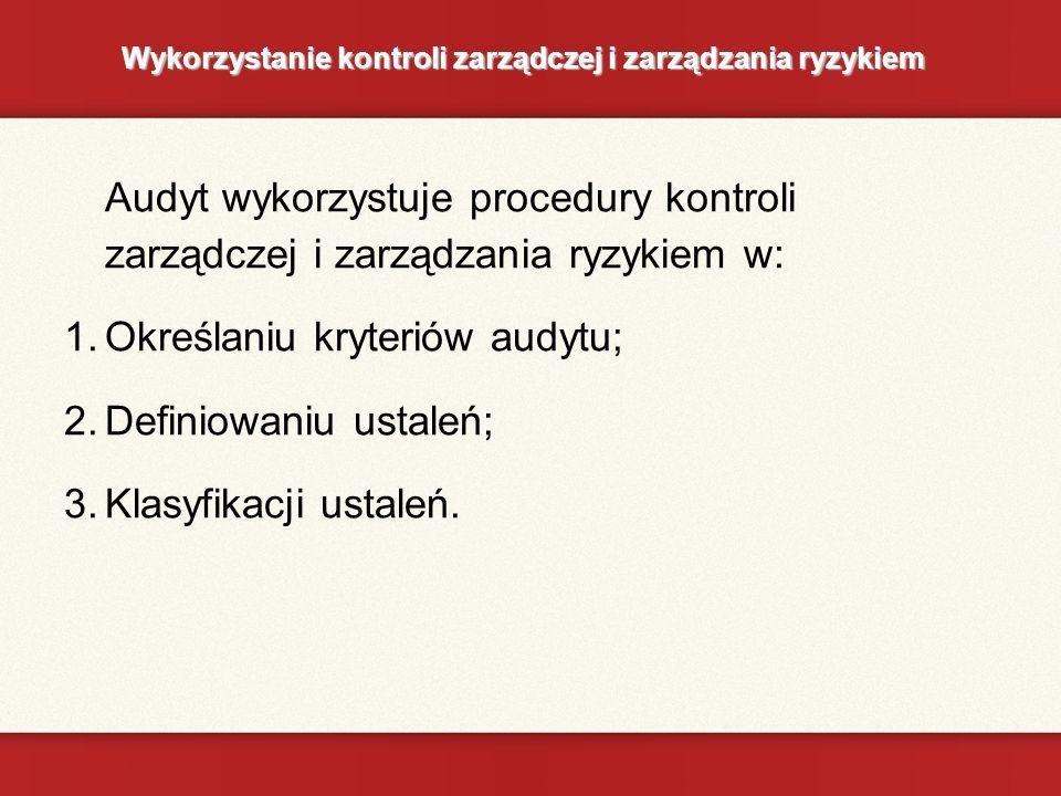 Wykorzystanie kontroli zarządczej i zarządzania ryzykiem Audyt wykorzystuje procedury kontroli zarządczej i zarządzania ryzykiem w: 1.Określaniu kryteriów audytu; 2.Definiowaniu ustaleń; 3.Klasyfikacji ustaleń.