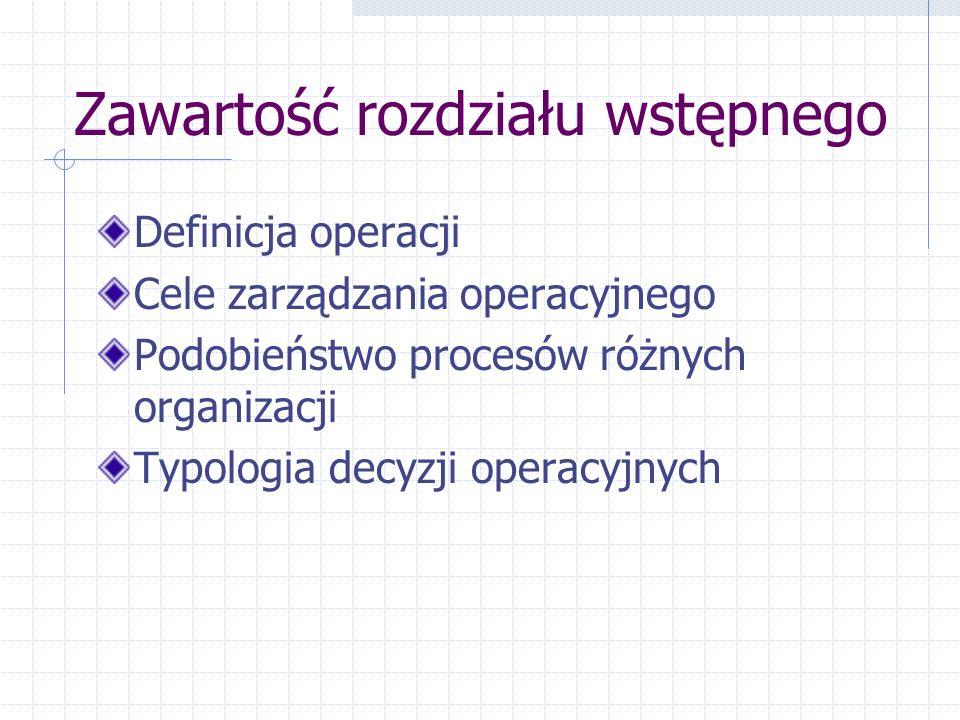 Zawartość rozdziału wstępnego Definicja operacji Cele zarządzania operacyjnego Podobieństwo procesów różnych organizacji Typologia decyzji operacyjnyc