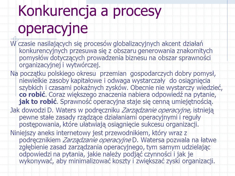 Konkurencja a procesy operacyjne W czasie nasilających się procesów globalizacyjnych akcent działań konkurencyjnych przesuwa się z obszaru generowania