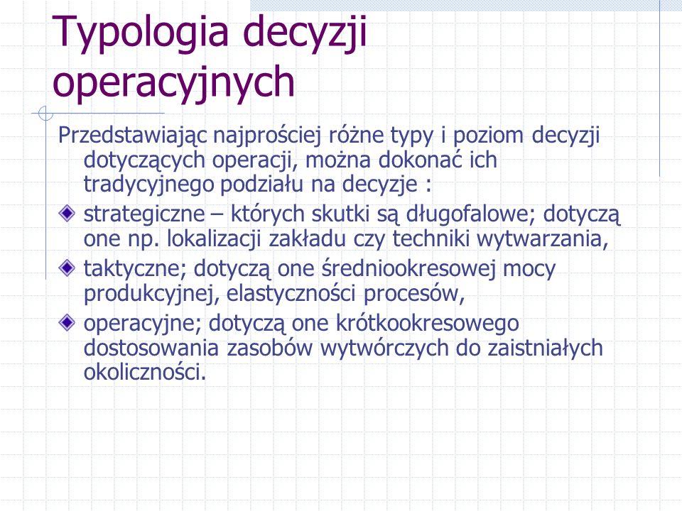 Typologia decyzji operacyjnych Przedstawiając najprościej różne typy i poziom decyzji dotyczących operacji, można dokonać ich tradycyjnego podziału na