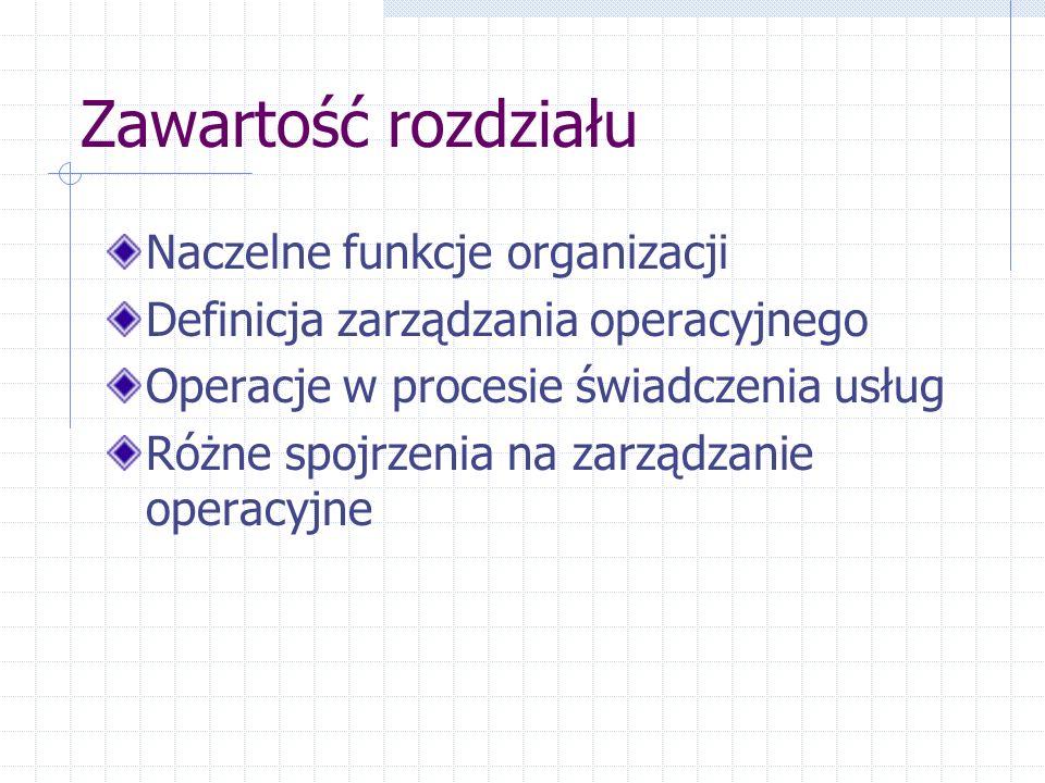 Zawartość rozdziału Naczelne funkcje organizacji Definicja zarządzania operacyjnego Operacje w procesie świadczenia usług Różne spojrzenia na zarządzanie operacyjne