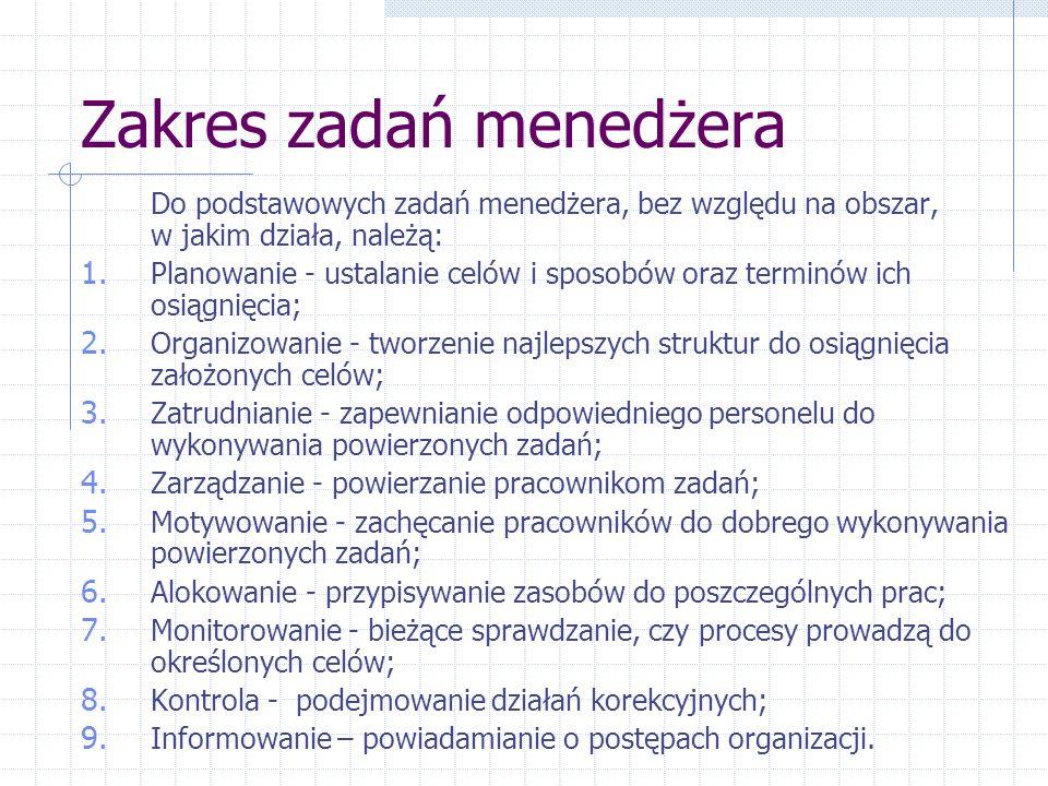 Zakres zadań menedżera Do podstawowych zadań menedżera, bez względu na obszar, w jakim działa, należą: 1.