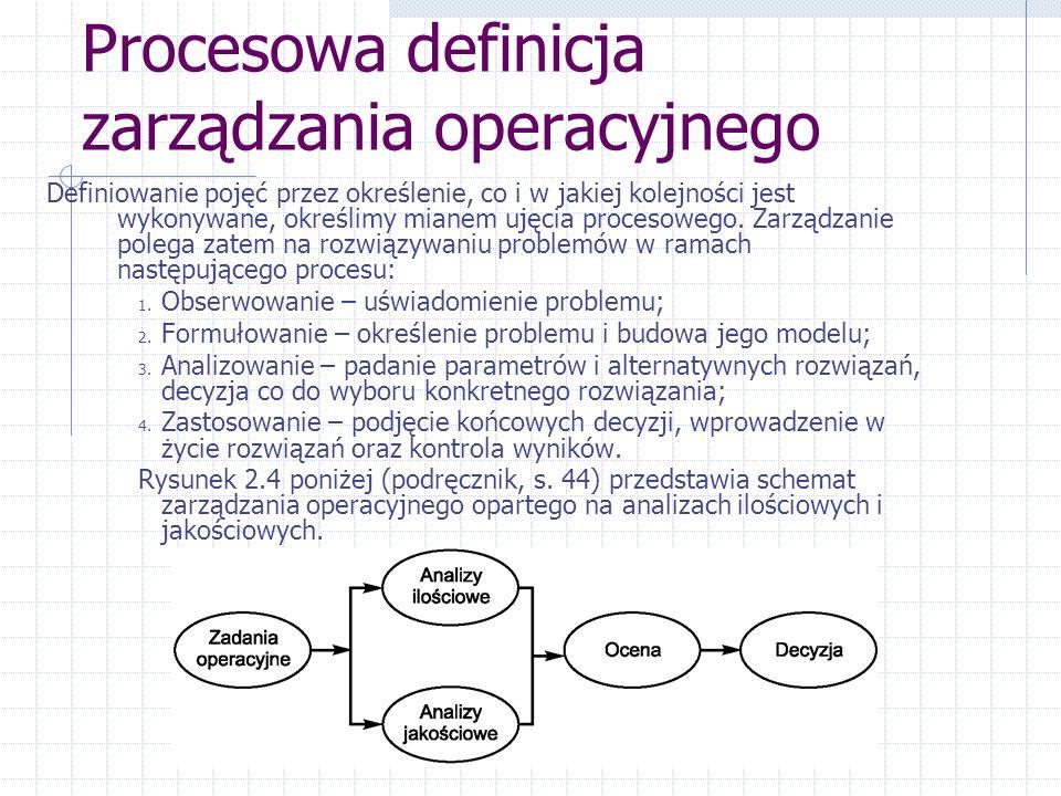 Procesowa definicja zarządzania operacyjnego Definiowanie pojęć przez określenie, co i w jakiej kolejności jest wykonywane, określimy mianem ujęcia procesowego.