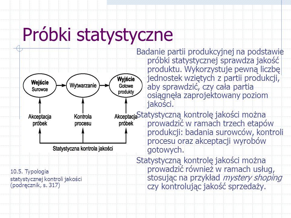 Próbki statystyczne Badanie partii produkcyjnej na podstawie próbki statystycznej sprawdza jakość produktu. Wykorzystuje pewną liczbę jednostek wzięty