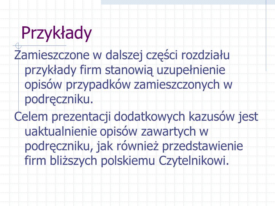 Przykłady Zamieszczone w dalszej części rozdziału przykłady firm stanowią uzupełnienie opisów przypadków zamieszczonych w podręczniku. Celem prezentac