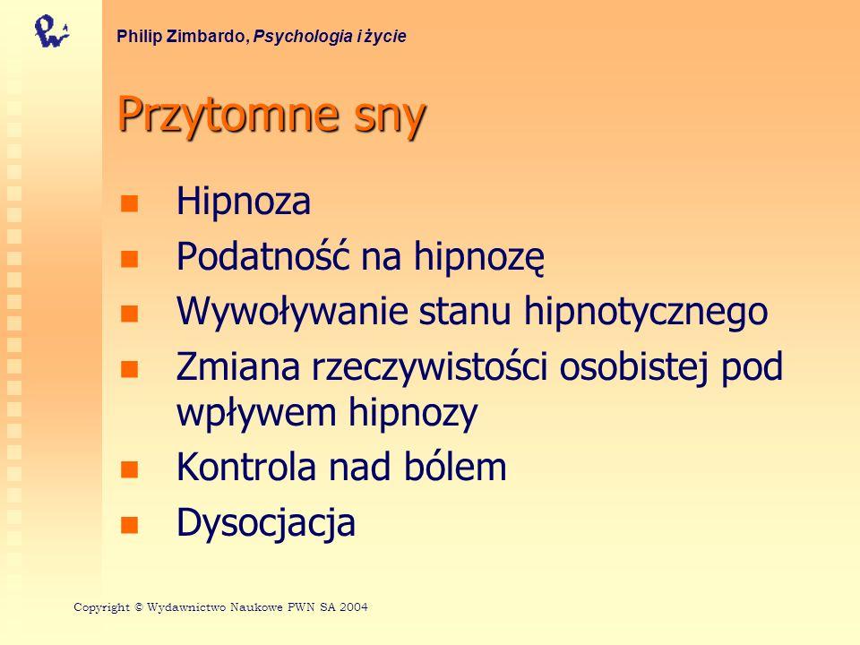 Przytomne sny Hipnoza Podatność na hipnozę Wywoływanie stanu hipnotycznego Zmiana rzeczywistości osobistej pod wpływem hipnozy Kontrola nad bólem Dyso