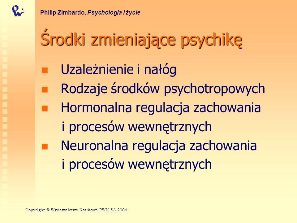 Środki zmieniające psychikę Uzależnienie i nałóg Rodzaje środków psychotropowych Hormonalna regulacja zachowania i procesów wewnętrznych Neuronalna re