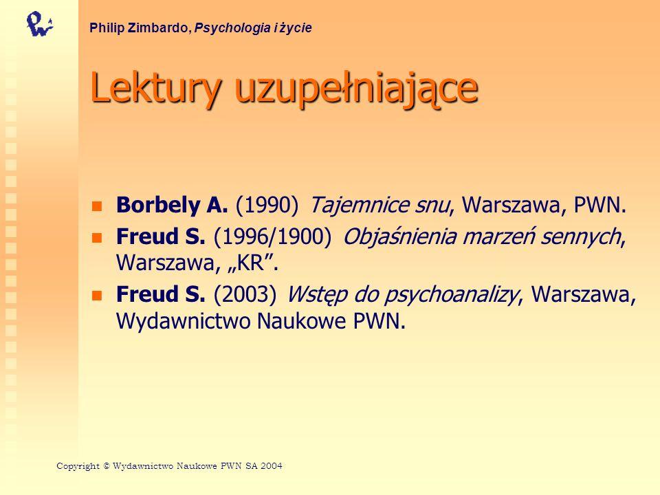 Lektury uzupełniające Borbely A. (1990) Tajemnice snu, Warszawa, PWN. Freud S. (1996/1900) Objaśnienia marzeń sennych, Warszawa, KR. Freud S. (2003) W