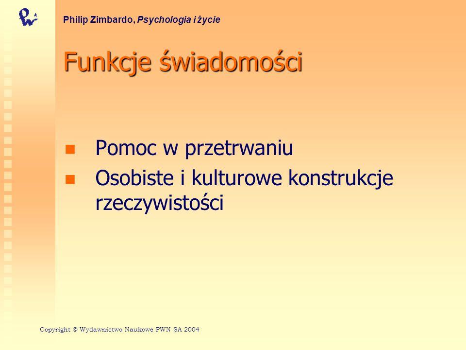 Funkcje świadomości Pomoc w przetrwaniu Osobiste i kulturowe konstrukcje rzeczywistości Philip Zimbardo, Psychologia i życie Copyright © Wydawnictwo N