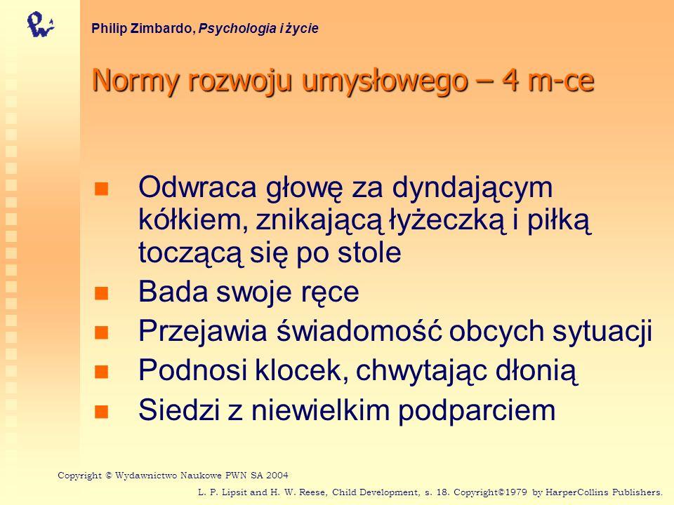Normy rozwoju umysłowego – 4 m-ce Philip Zimbardo, Psychologia i życie Odwraca głowę za dyndającym kółkiem, znikającą łyżeczką i piłką toczącą się po