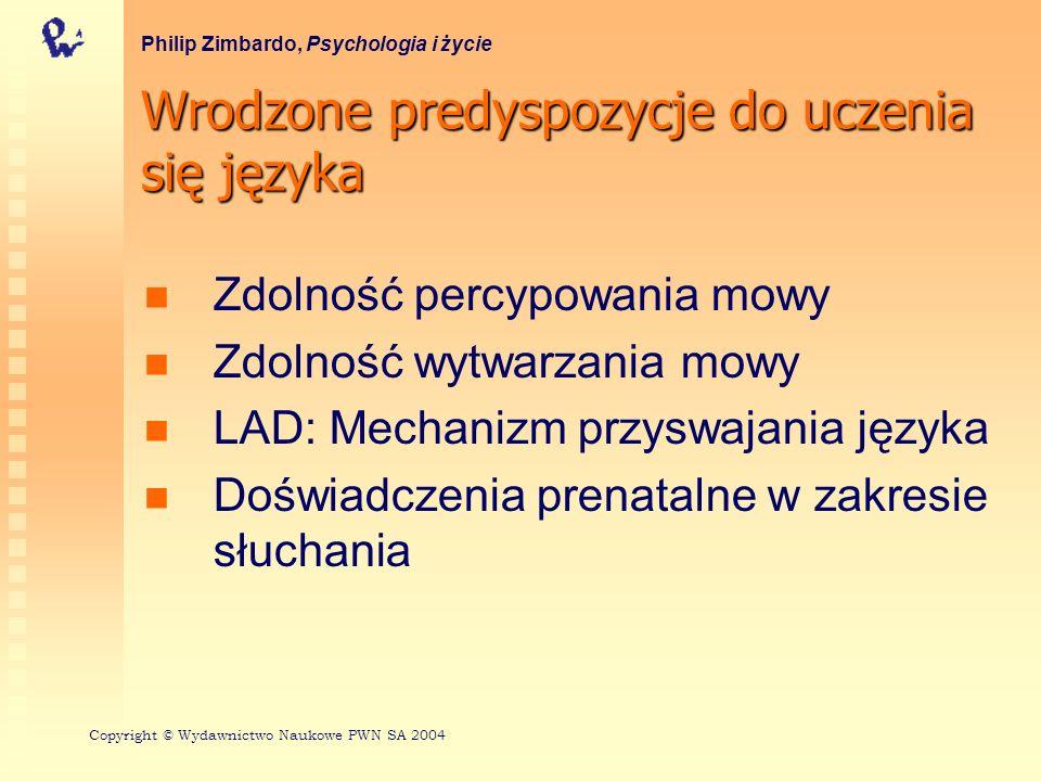 Wrodzone predyspozycje do uczenia się języka Philip Zimbardo, Psychologia i życie Zdolność percypowania mowy Zdolność wytwarzania mowy LAD: Mechanizm