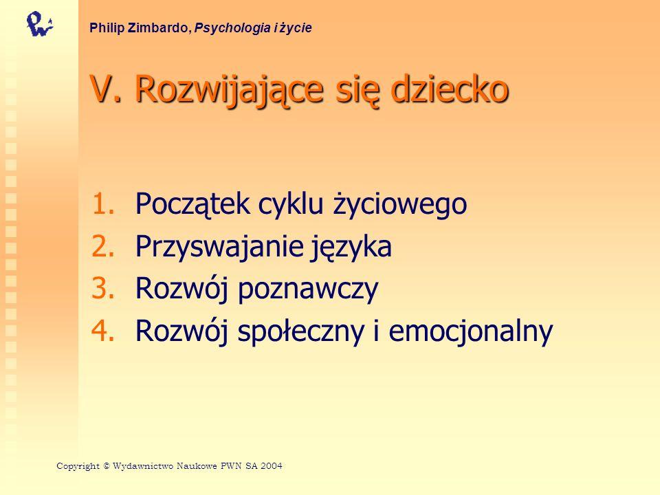 V. Rozwijające się dziecko 1. 1.Początek cyklu życiowego 2. 2.Przyswajanie języka 3. 3.Rozwój poznawczy 4. 4.Rozwój społeczny i emocjonalny Philip Zim