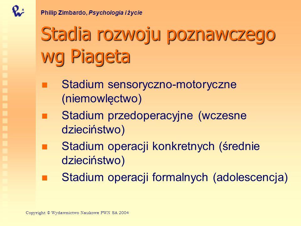 Stadia rozwoju poznawczego wg Piageta Philip Zimbardo, Psychologia i życie Stadium sensoryczno-motoryczne (niemowlęctwo) Stadium przedoperacyjne (wcze