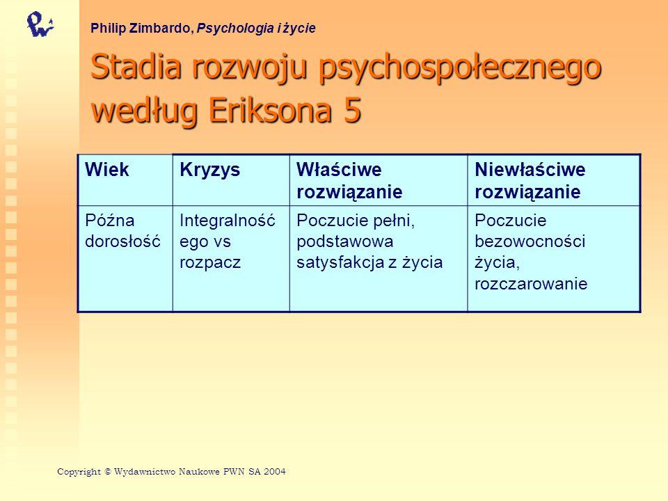 Stadia rozwoju psychospołecznego według Eriksona 5 Philip Zimbardo, Psychologia i życie WiekKryzysWłaściwe rozwiązanie Niewłaściwe rozwiązanie Późna d