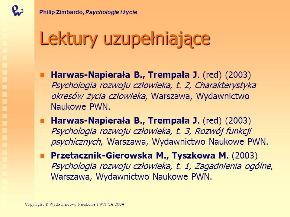 Lektury uzupełniające Harwas-Napierała B., Trempała J. (red) (2003) Psychologia rozwoju człowieka, t. 2, Charakterystyka okresów życia człowieka, Wars