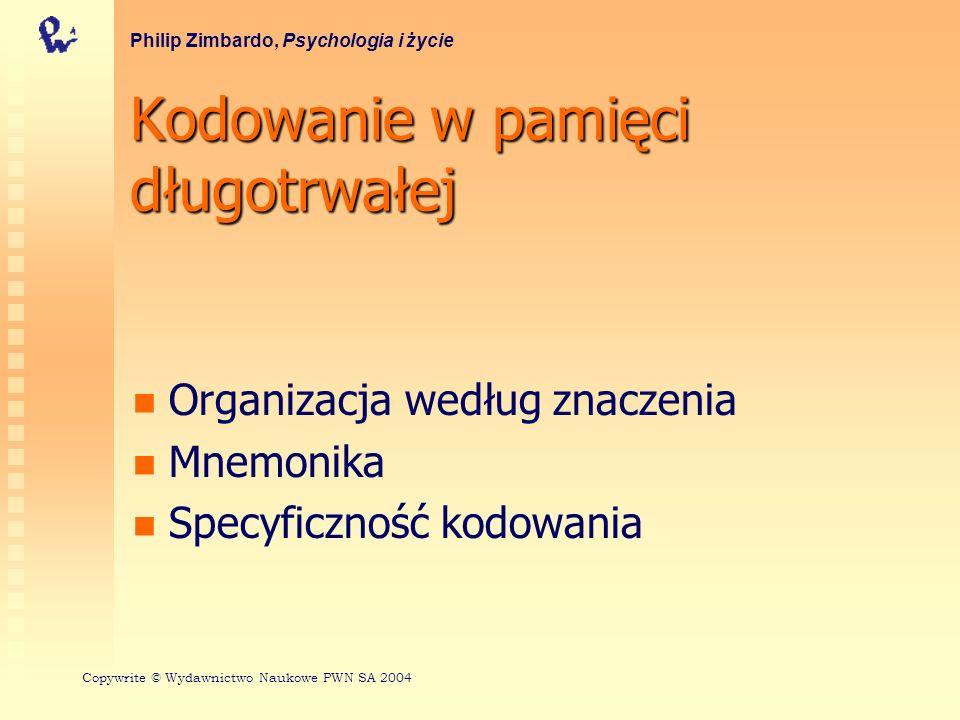 Kodowanie w pamięci długotrwałej Organizacja według znaczenia Mnemonika Specyficzność kodowania Philip Zimbardo, Psychologia i życie Copywrite © Wydaw