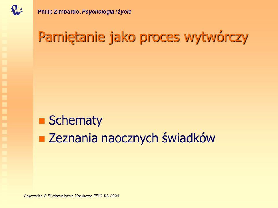 Pamiętanie jako proces wytwórczy Schematy Zeznania naocznych świadków Philip Zimbardo, Psychologia i życie Copywrite © Wydawnictwo Naukowe PWN SA 2004