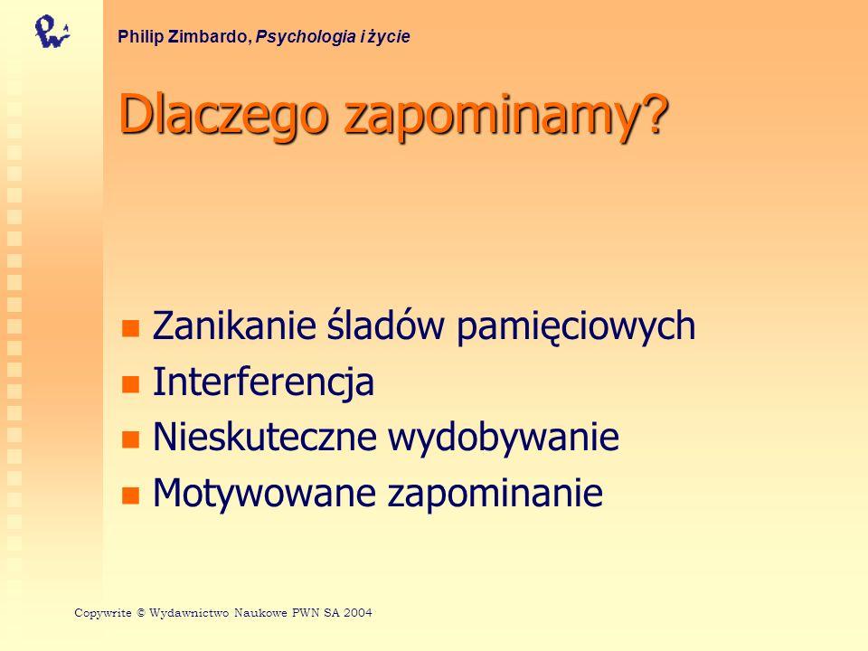 Dlaczego zapominamy ? Zanikanie śladów pamięciowych Interferencja Nieskuteczne wydobywanie Motywowane zapominanie Philip Zimbardo, Psychologia i życie