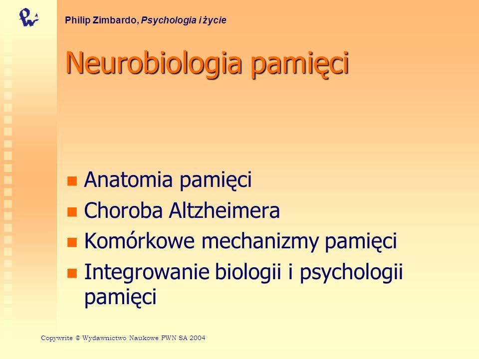 Neurobiologia pamięci Anatomia pamięci Choroba Altzheimera Komórkowe mechanizmy pamięci Integrowanie biologii i psychologii pamięci Philip Zimbardo, P