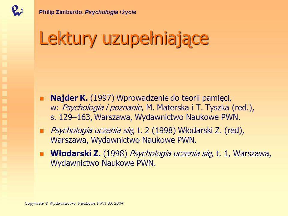 Lektury uzupełniające Najder K. (1997) Wprowadzenie do teorii pamięci, w: Psychologia i poznanie, M. Materska i T. Tyszka (red.), s. 129–163, Warszawa