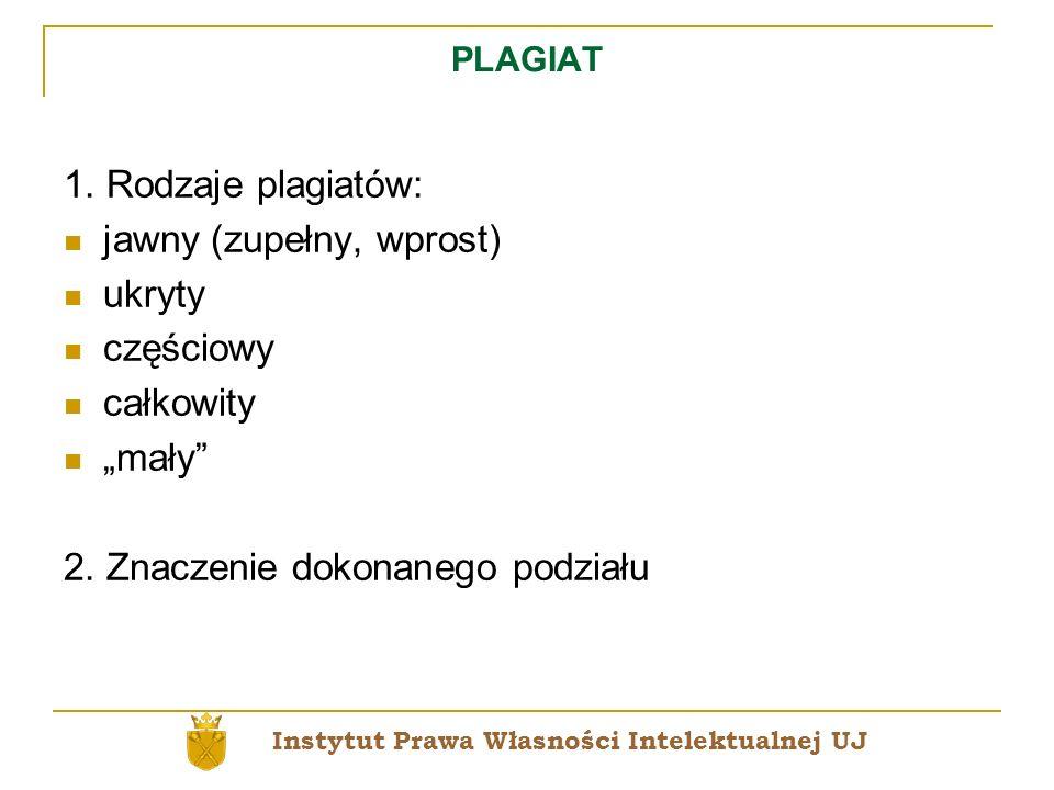PLAGIAT 1. Rodzaje plagiatów: jawny (zupełny, wprost) ukryty częściowy całkowity mały 2. Znaczenie dokonanego podziału Instytut Prawa Własności Intele