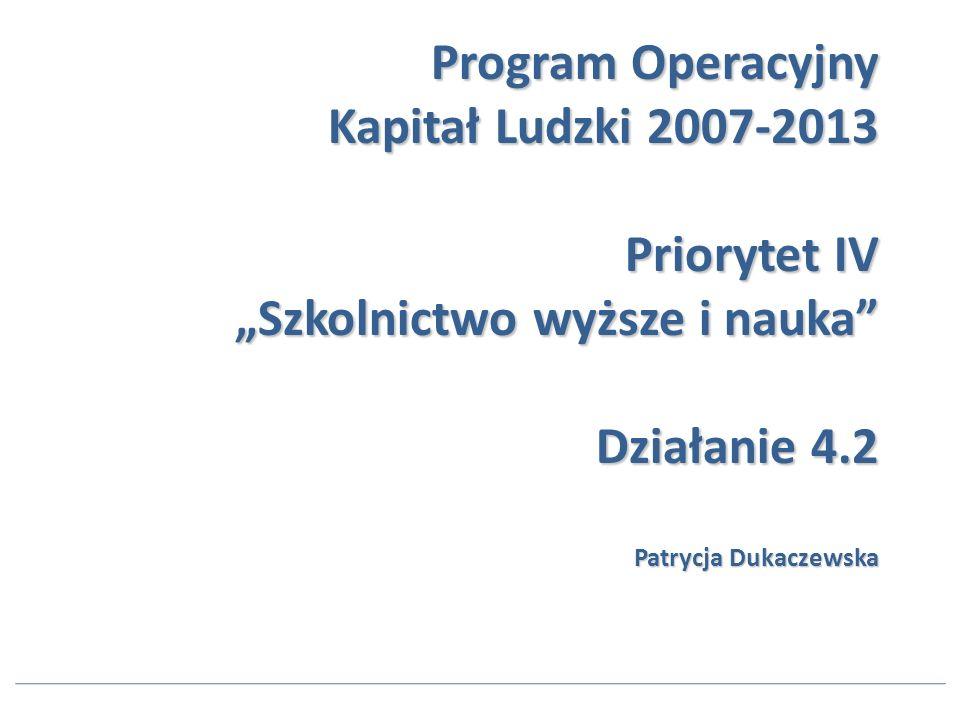 Program Operacyjny Kapitał Ludzki 2007-2013 Priorytet IV Szkolnictwo wyższe i nauka Działanie 4.2 Patrycja Dukaczewska