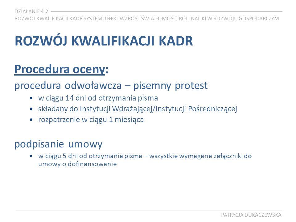 DZIAŁANIE 4.2 ROZWÓJ KWALIFIKACJI KADR SYSTEMU B+R I WZROST ŚWIADOMOŚCI ROLI NAUKI W ROZWOJU GOSPODARCZYM PATRYCJA DUKACZEWSKA ROZWÓJ KWALIFIKACJI KADR Procedura oceny: procedura odwoławcza – pisemny protest w ciągu 14 dni od otrzymania pisma składany do Instytucji Wdrażającej/Instytucji Pośredniczącej rozpatrzenie w ciągu 1 miesiąca podpisanie umowy w ciągu 5 dni od otrzymania pisma – wszystkie wymagane załączniki do umowy o dofinansowanie