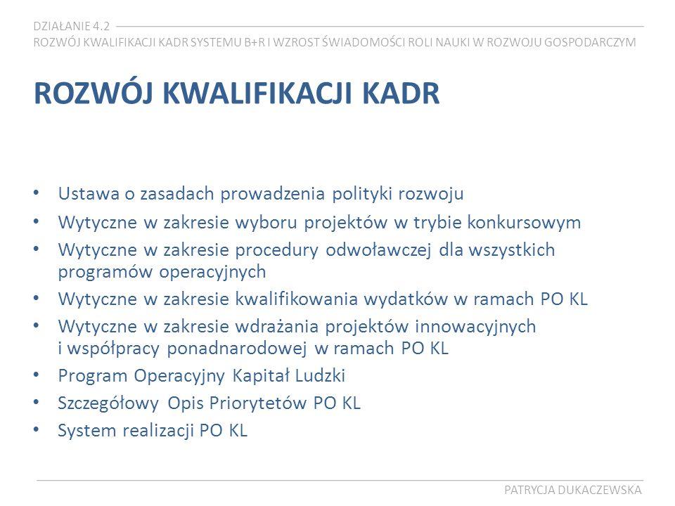 DZIAŁANIE 4.2 ROZWÓJ KWALIFIKACJI KADR SYSTEMU B+R I WZROST ŚWIADOMOŚCI ROLI NAUKI W ROZWOJU GOSPODARCZYM PATRYCJA DUKACZEWSKA ROZWÓJ KWALIFIKACJI KADR Ustawa o zasadach prowadzenia polityki rozwoju Wytyczne w zakresie wyboru projektów w trybie konkursowym Wytyczne w zakresie procedury odwoławczej dla wszystkich programów operacyjnych Wytyczne w zakresie kwalifikowania wydatków w ramach PO KL Wytyczne w zakresie wdrażania projektów innowacyjnych i współpracy ponadnarodowej w ramach PO KL Program Operacyjny Kapitał Ludzki Szczegółowy Opis Priorytetów PO KL System realizacji PO KL