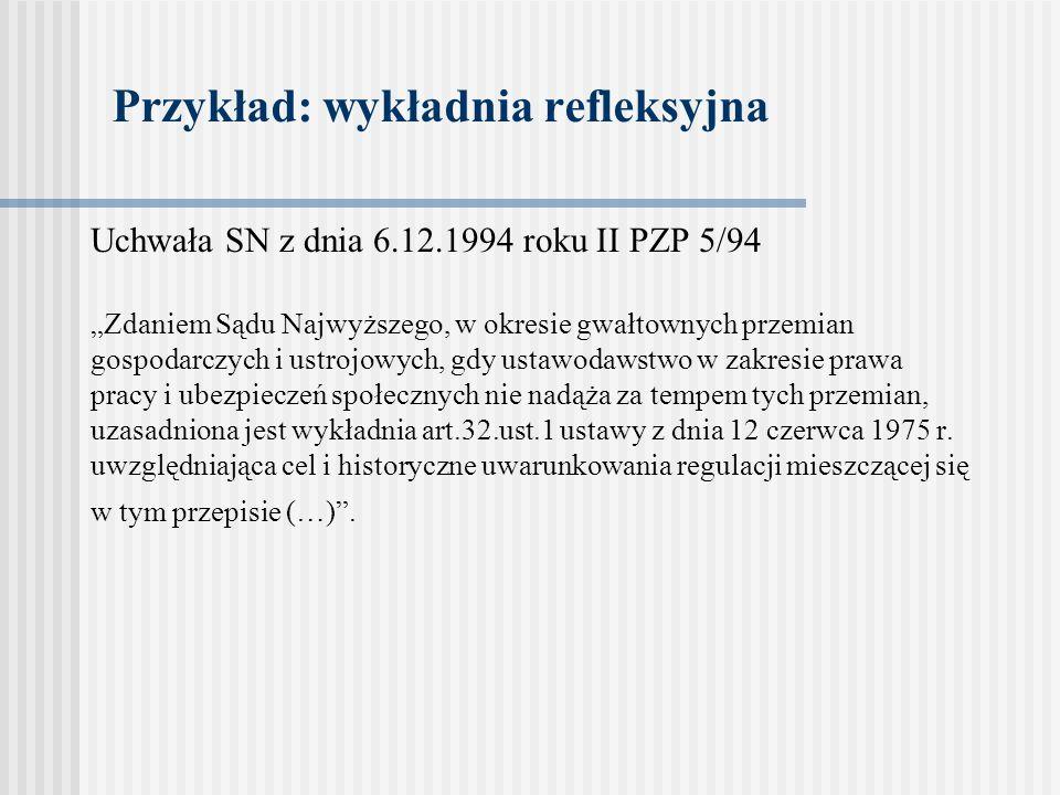 Przykład: wykładnia refleksyjna Uchwała SN z dnia 6.12.1994 roku II PZP 5/94 Zdaniem Sądu Najwyższego, w okresie gwałtownych przemian gospodarczych i
