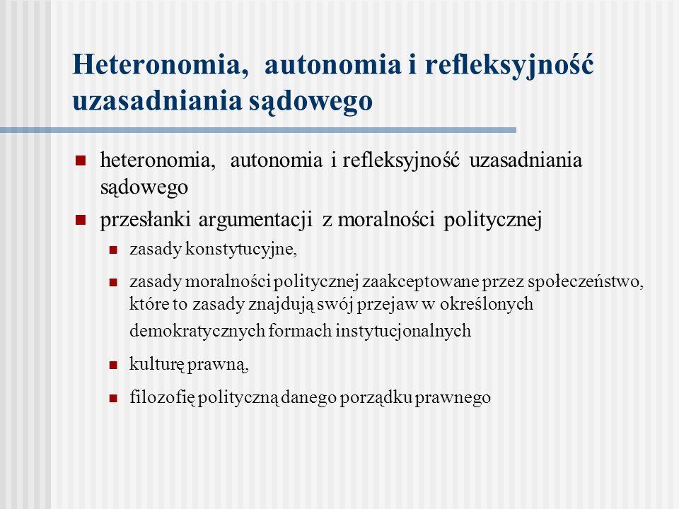 Heteronomia, autonomia i refleksyjność uzasadniania sądowego heteronomia, autonomia i refleksyjność uzasadniania sądowego przesłanki argumentacji z mo