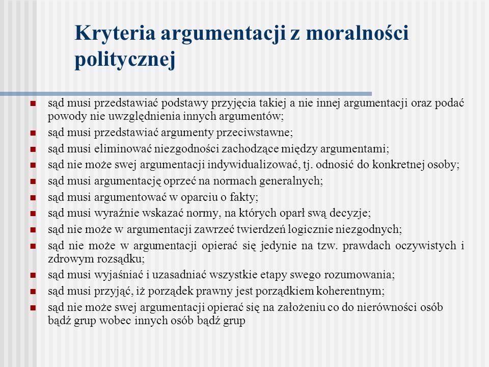 Kryteria argumentacji z moralności politycznej sąd musi przedstawiać podstawy przyjęcia takiej a nie innej argumentacji oraz podać powody nie uwzględn