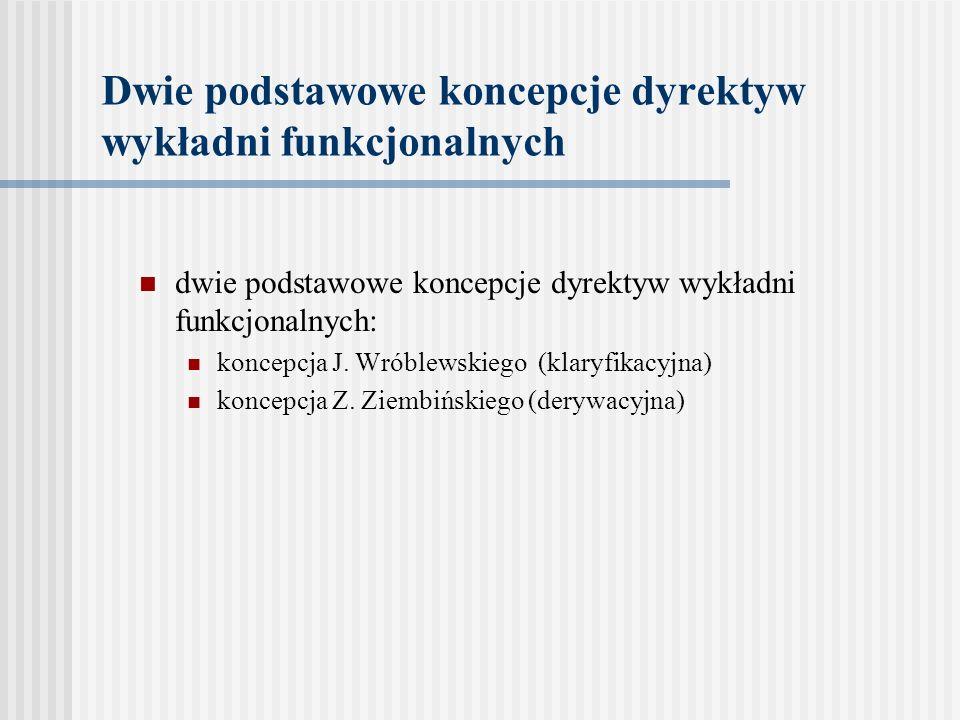 Dwie podstawowe koncepcje dyrektyw wykładni funkcjonalnych dwie podstawowe koncepcje dyrektyw wykładni funkcjonalnych: koncepcja J. Wróblewskiego (kla