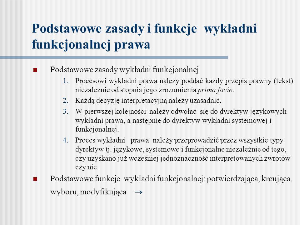 Podstawowe zasady i funkcje wykładni funkcjonalnej prawa Podstawowe zasady wykładni funkcjonalnej 1.Procesowi wykładni prawa należy poddać każdy przep