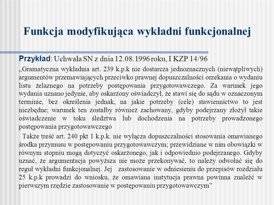 Funkcja modyfikująca wykładni funkcjonalnej Przykład : Uchwała SN z dnia 12.08.1996 roku, I KZP 14/96 Gramatyczna wykładnia art. 239 k.p.k nie dostarc