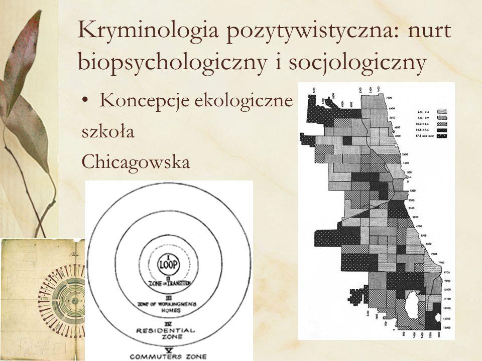 21 Kryminologia pozytywistyczna: nurt biopsychologiczny i socjologiczny Koncepcje ekologiczne szkoła Chicagowska