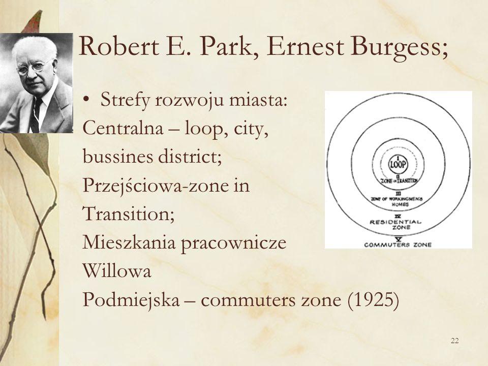 22 Robert E. Park, Ernest Burgess; Strefy rozwoju miasta: Centralna – loop, city, bussines district; Przejściowa-zone in Transition; Mieszkania pracow